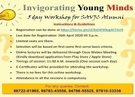 "5 DAY VIRTUAL WORKSHOP ""INVIGORATING YOUNG MINDS"""