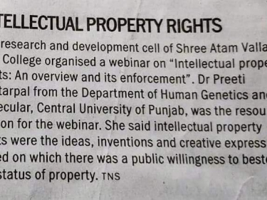 """webinar on the theme """"Intellectual Property Rights: An Overview and its Enforcement"""""""
