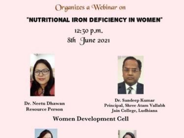 """Webinar on the theme """"Nutritional Iron Deficiency in Women"""""""